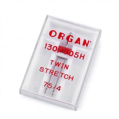 KAKSOISNEULA Organ Twin Stretch 130/705H, 75/4 mm