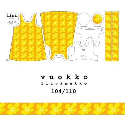VUOKKO liivimekon ompelupaketti keltainen, koko 104/110
